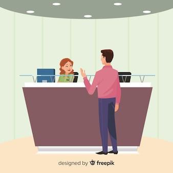 会社の受付は、顧客の背景を見て