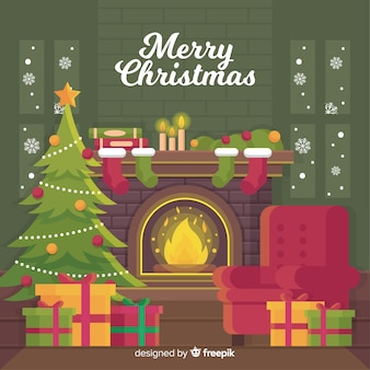 クリスマス暖炉のシーン