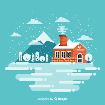 冬のフラットな風景のイラスト