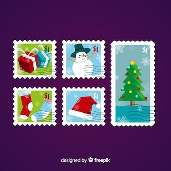 カラフルなクリスマスの切手コレクション