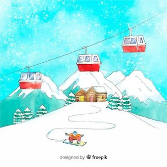水彩ケーブルカー冬のイラスト