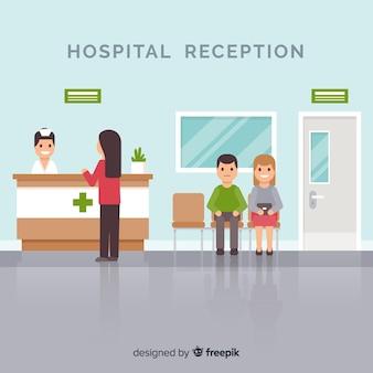 患者の病院の受付のイラストに出席する看護婦