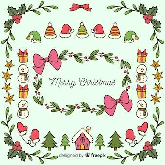 手描きのクリスマスの要素の背景