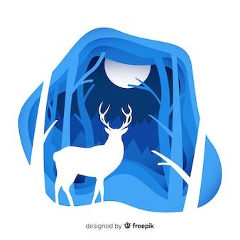 鹿の冬の背景をカット