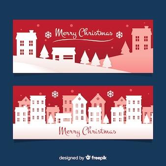 クリスマスバナータウンシルエット
