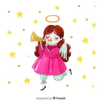 かわいい手描きの天使の背景