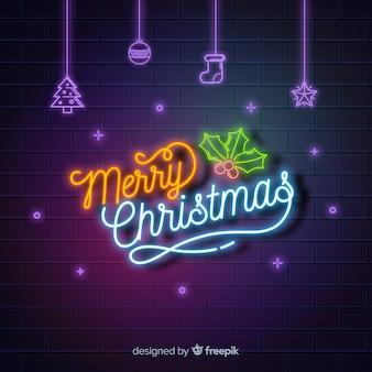 ネオンメリークリスマスの背景