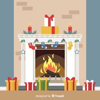 フラットな暖炉のイラスト