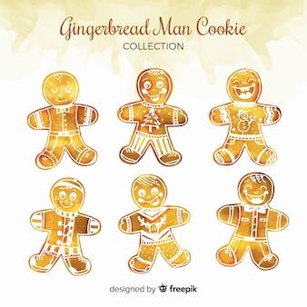 水彩のジンジャーブレッドマンクッキーコレクション