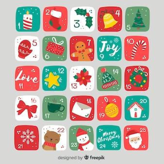 クリスマスの要素アドベントカレンダー