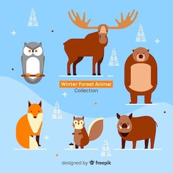 フラットな冬の森の動物のコレクション