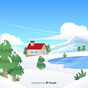凍った湖の冬のイラスト