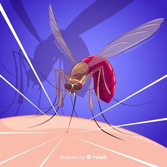 カラフルな蚊の咬合