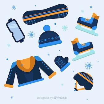 冬のスポーツ機器の背景