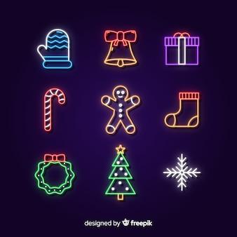 Рождественские неоновые элементы