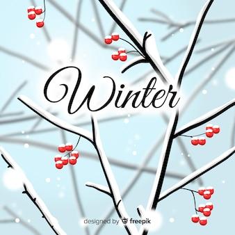 裸の枝の冬の背景