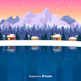 凍った湖の冬の背景