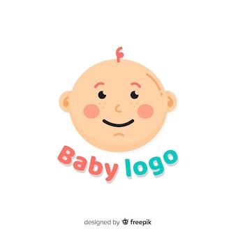 Симпатичный шаблон логотипа ребенка с плоским дизайном