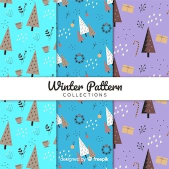 手描きの冬のパターンのコレクション