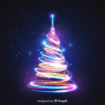 カラフルなライトクリスマスツリー