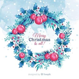 Акварельный рождественский цветочный венок с шарами