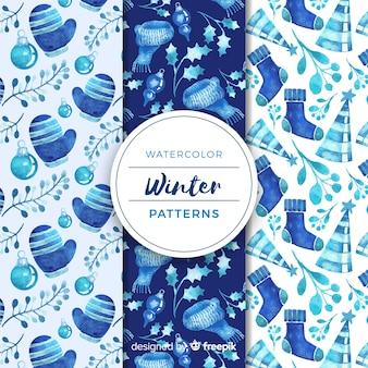 冷たい色の水彩の冬のパターンのコレクション
