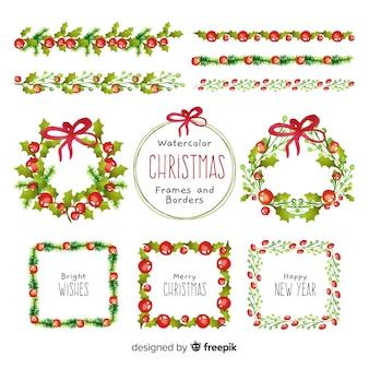 クリスマスリースとフレーム水彩コレクション