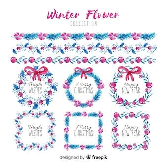 クリスマスのフレーム、花輪、国境の水彩コレクション