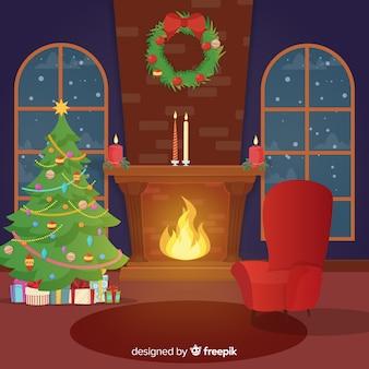 フラットな暖炉のクリスマスシーン
