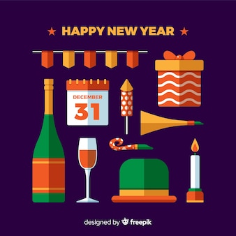 フラットな新年パーティーの要素パック