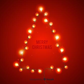 Рождественская елка с золотым светом