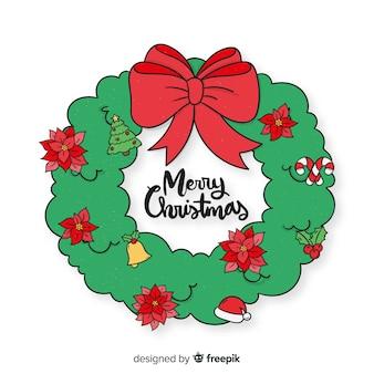 手描きのシンプルなクリスマスの花輪