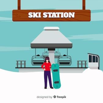 スキー場の背景