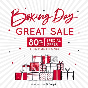 手描きのボクシングの日の販売の背景