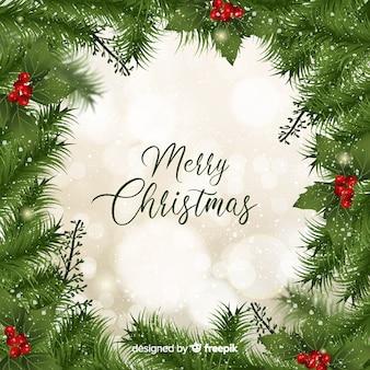 現実的な松枝クリスマスの背景