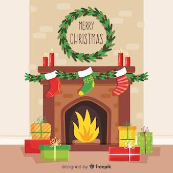 シンプルな暖炉クリスマスシーン