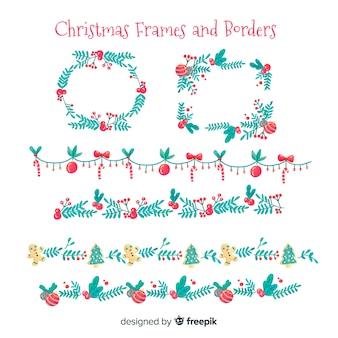 Акварельные рамки и рамки для рождества