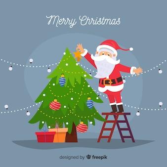フラットデザインの素敵なクリスマスの組成