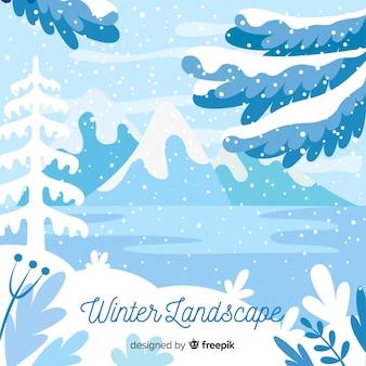 冷たい色の冬の風景の背景