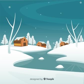 凍った川の冬の風景