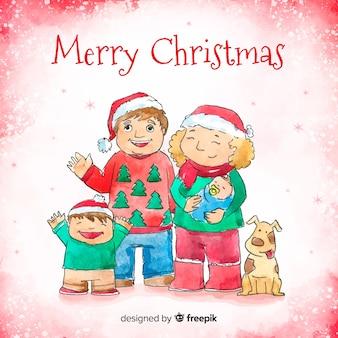 水彩画の手描きの家族のクリスマスの肖像画