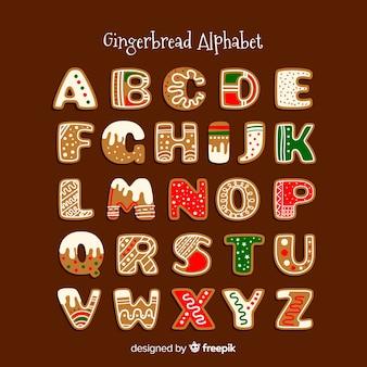 装飾されたジンジャーブレッドのアルファベット