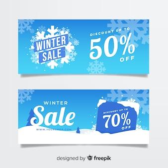 冬の販売の雪片のバナー