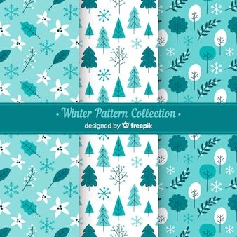 Прекрасный набор рисованных зимних узоров