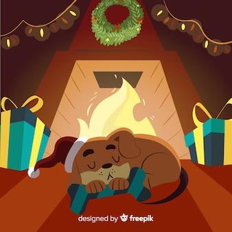 犬、暖炉、クリスマス、イラスト