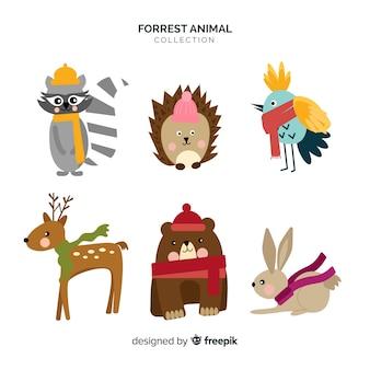 平らな森林動物コレクション