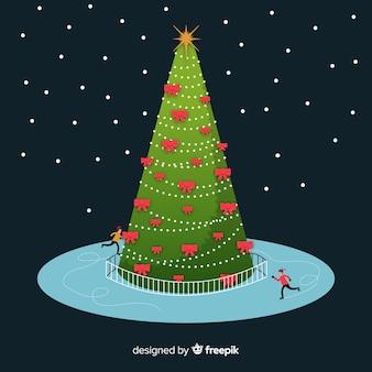 アイススケーターを持つクリスマスツリー