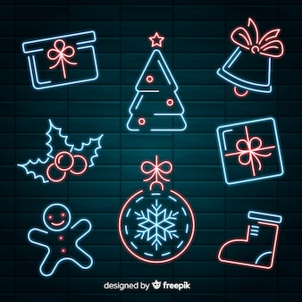 Коллекция рождественских неоновых элементов
