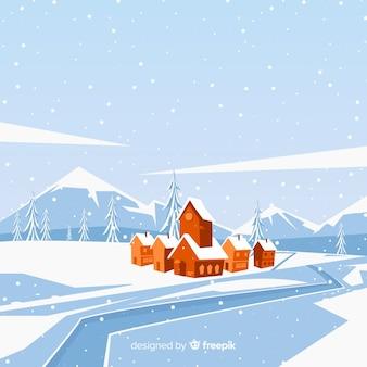 川の冬のイラストの村
