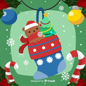 フラットデザインと素敵なクリスマスの背景